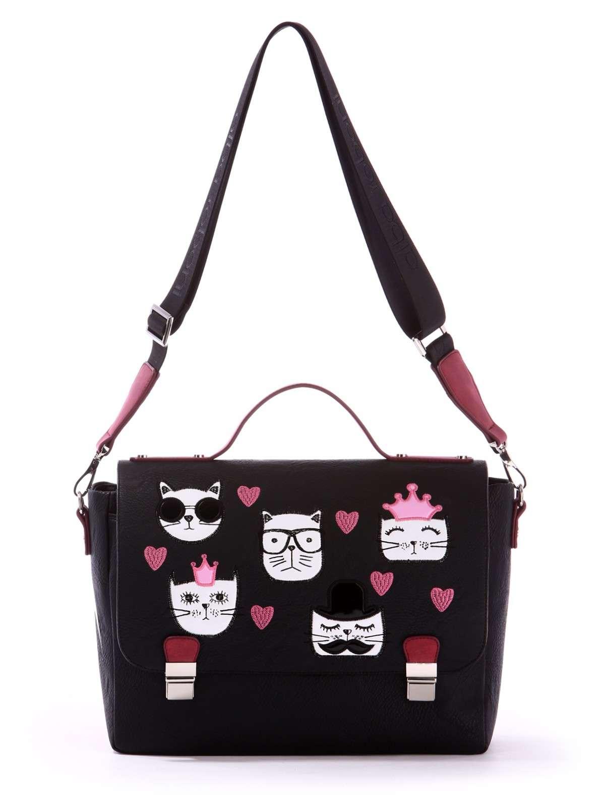 b73976b5cad8 Школьная молодежная сумка-портфель, модель 171334 черный. Фото товара, вид  сбоку.