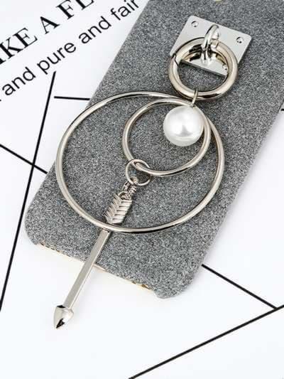 Молодежный брелок-подвеска на телефон двойное кольцо с жемчужиной никель. Фото товара, вид 1