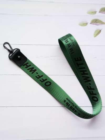 Молодежный брелок на телефон ремешок off-white длинный зеленый. Фото товара, вид 1