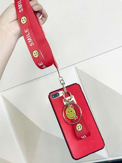 Молодежный брелок на телефон ремешок smile длинный красный. Фото товара, вид 2