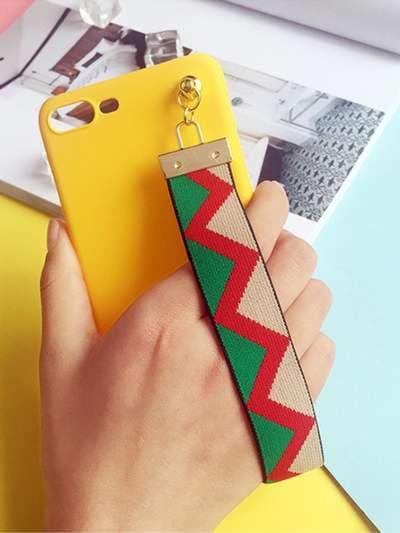 Модный брелок-подвеска на телефон ремешок зигзаг зеленый. Фото товара, вид 1_product-ru