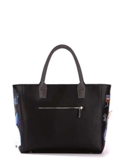 Молодежная сумка, модель 172939 черный. Фото товара, вид сзади.