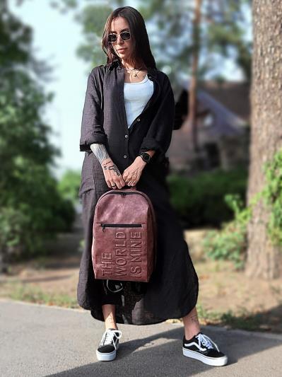 Фото товара: рюкзак 212363 бордо-нікель. Вид 1.