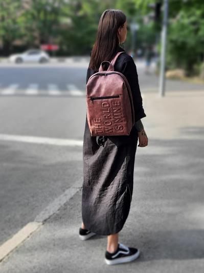 Фото товара: рюкзак 212363 бордо-нікель. Вид 2.