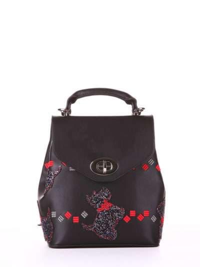 Стильный рюкзак, модель 182922 черный. Фото товара, вид спереди.