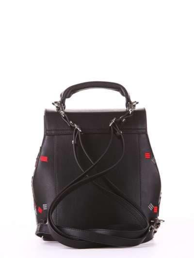Стильный рюкзак, модель 182922 черный. Фото товара, вид сзади.