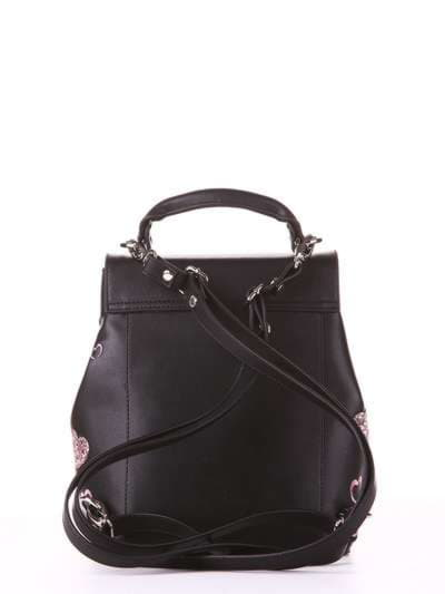 Модный рюкзак, модель 182923 черный. Фото товара, вид сзади.