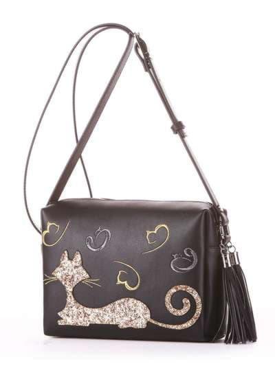 Молодежная сумка маленькая, модель 182911 черный. Фото товара, вид сбоку.