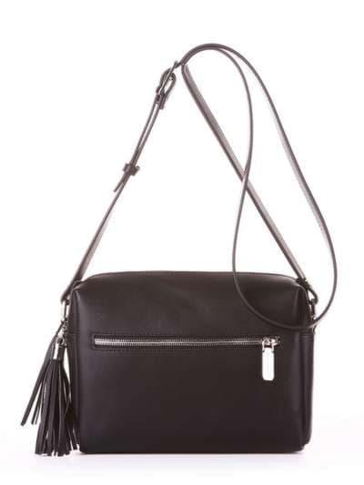 Молодежная сумка маленькая, модель 182911 черный. Фото товара, вид сзади.