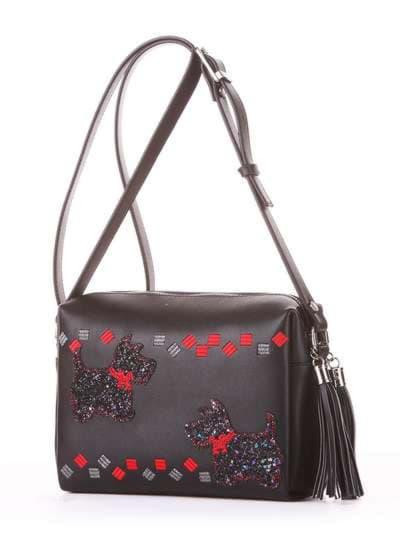Стильная сумка маленькая, модель 182912 черный. Фото товара, вид сбоку.