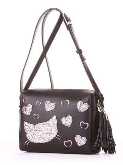 Модная сумка маленькая, модель 182913 черный. Фото товара, вид сбоку.