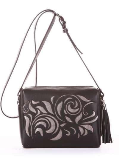 Модная сумка маленькая, модель 182915 черный. Фото товара, вид спереди.