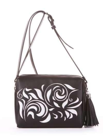 Стильная сумка маленькая, модель 182916 черный. Фото товара, вид спереди.