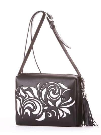 Стильная сумка маленькая, модель 182916 черный. Фото товара, вид сбоку.
