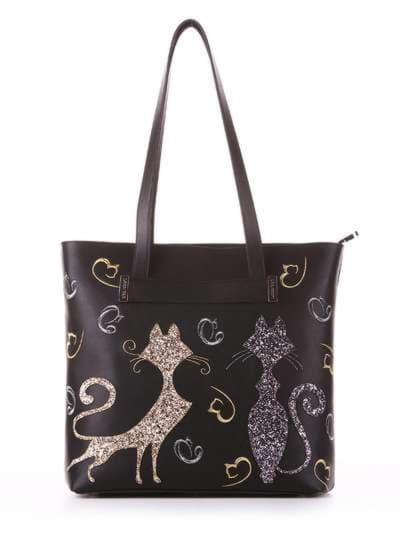 Молодежная сумка, модель 182901 черный. Фото товара, вид спереди.
