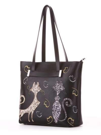 Молодежная сумка, модель 182901 черный. Фото товара, вид сбоку.