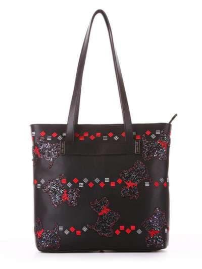 Модная сумка, модель 182902 черный. Фото товара, вид спереди.