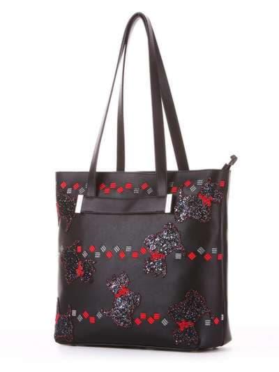 Модная сумка, модель 182902 черный. Фото товара, вид сбоку.