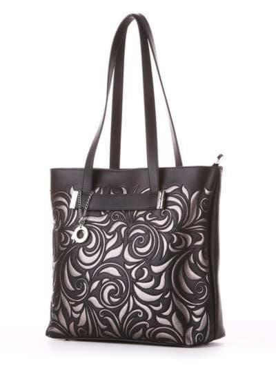 Молодежная сумка, модель 182905 черный. Фото товара, вид сбоку.