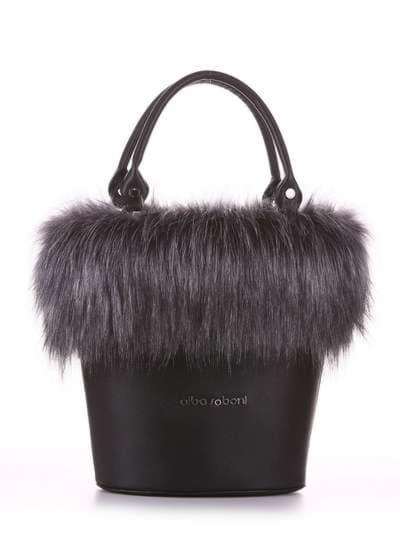Стильна сумка, модель 182932 чорний. Фото товару, вид спереду.