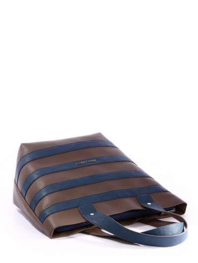 Брендовая сумка, модель 171472 коричневый-синий. Фото товара, вид сзади.