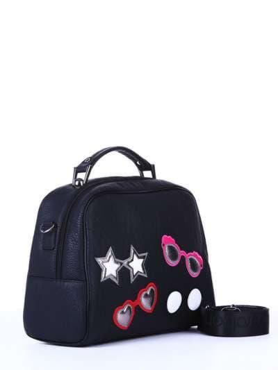 Школьная молодежная сумка, модель 171324 черный. Фото товара, вид спереди._product-ru