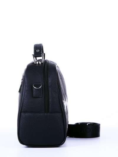 Школьная молодежная сумка, модель 171324 черный. Фото товара, вид сзади.
