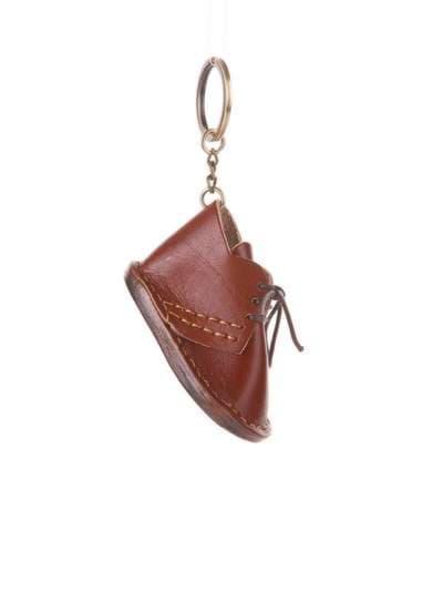 Стильный брелок ботинок кожаный коричневый. Фото товара, вид 1