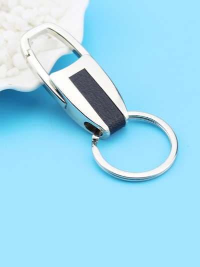 Модный брелок карабин с кожей никель. Фото товара, вид 3