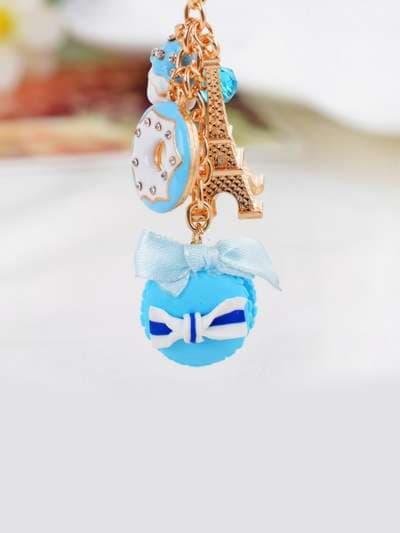 Стильный брелок печенье с эйфелевой башней голубое. Фото товара, вид 3