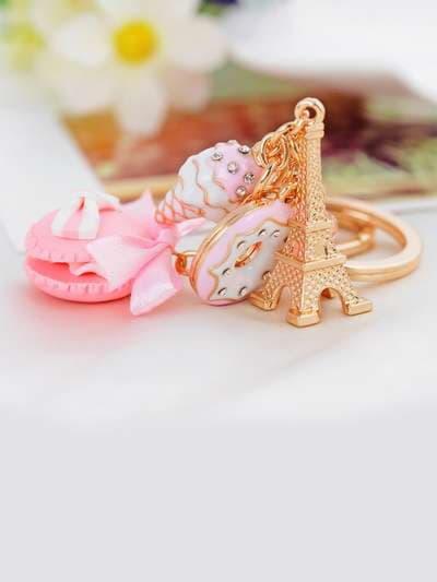 Стильный брелок печенье с эйфелевой башней розовое. Фото товара, вид 3