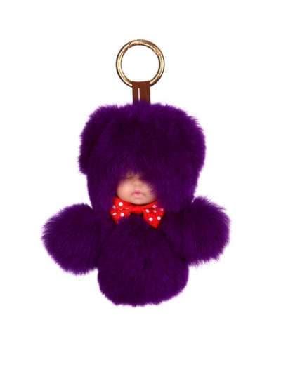 Модный брелок кукла в меху фиолетовая. Фото товара, вид 1