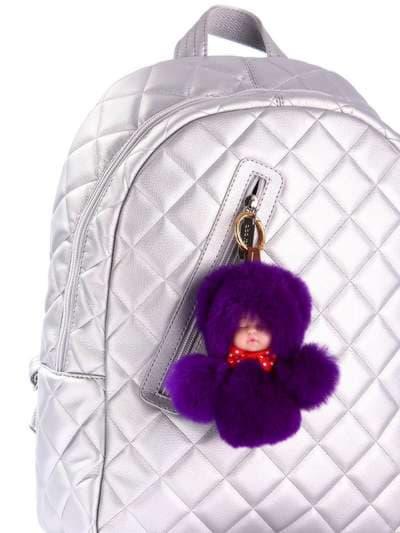 Модный брелок кукла в меху фиолетовая. Фото товара, вид 2