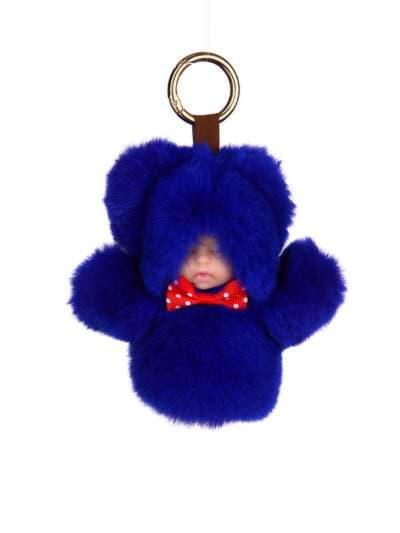 Модний брелок лялька в хутрі синій. Фото товару, вид 1