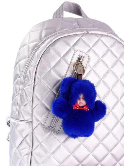 Модний брелок лялька в хутрі синій. Фото товару, вид 2