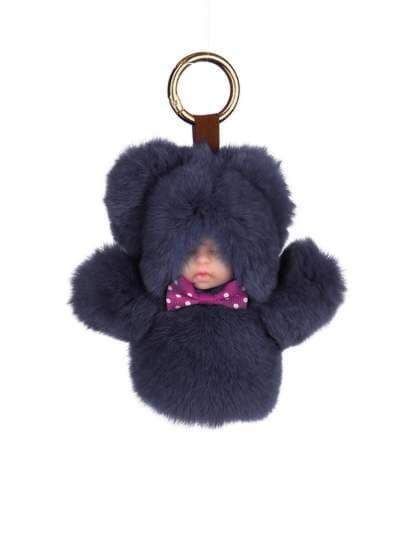Молодежный брелок кукла в меху темно-серая. Фото товара, вид 1