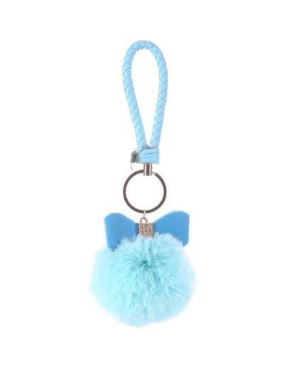 Молодежный брелок меховый шар с бантом голубой. Фото товара, вид 1_product-ru