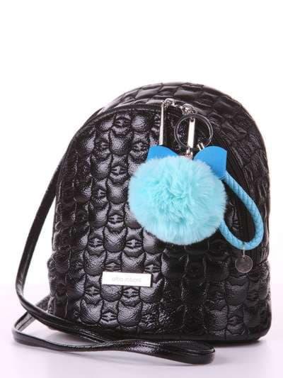 Молодежный брелок меховый шар с бантом голубой. Фото товара, вид 2