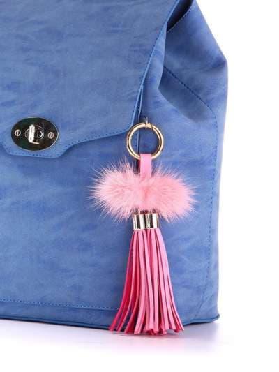 Модный брелок кожаная розовая подвеска с мехом. Фото товара, вид 2
