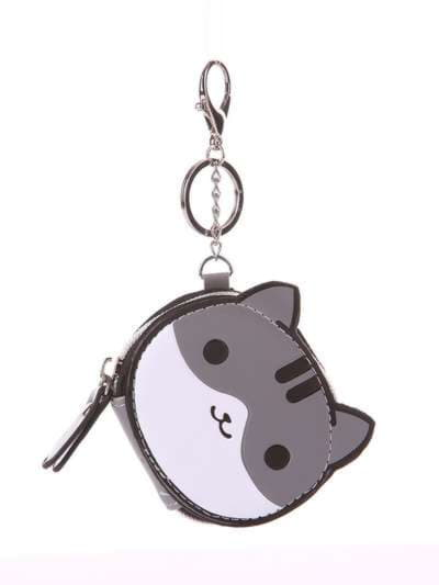 Модный брелок мини сумочка кошка с ушками серая. Фото товара, вид 1