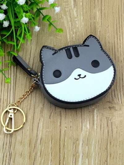 Модный брелок мини сумочка кошка с ушками серая. Фото товара, вид 2
