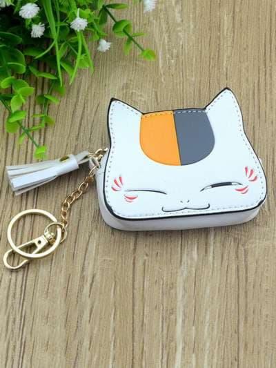 Стильный брелок мини сумочка кошка с ушками белая. Фото товара, вид 3