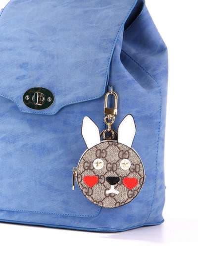 Стильный брелок мини сумочка заяц серая. Фото товара, вид 3