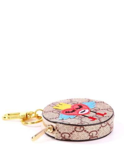 Модный брелок мини сумочка сердце в короне коричневый. Фото товара, вид 1