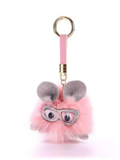 Стильный брелок монстр в очках розовый. Фото товара, вид 1