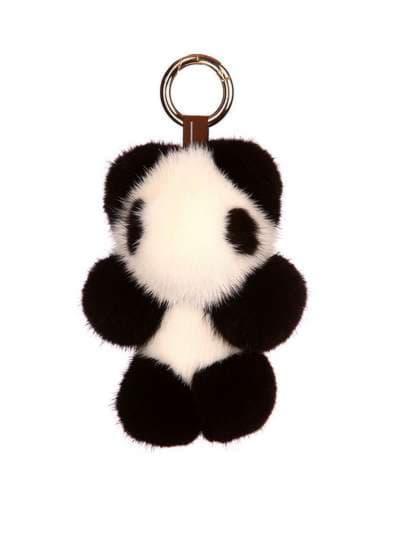 Модний брелок панда норкова чорно-білий. Фото товару, вид 1