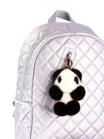 Модний брелок панда норкова чорно-білий. Фото товару, вид 2