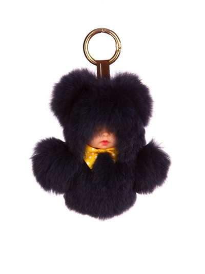 Стильный брелок кукла в меху черная. Фото товара, вид 1