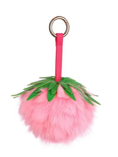 Модний брелок шар ананас великий рожевий. Фото товару, вид 1