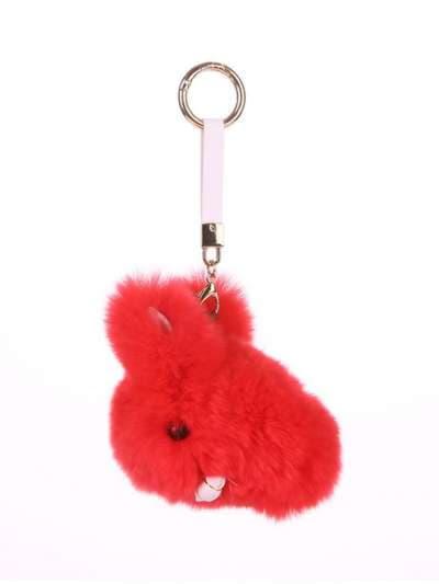 Брендовый брелок кролик меховый с ремешком красный. Фото товара, вид 1